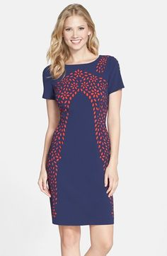 Nue by Shani Lasercut Crepe Sheath Dress available at #Nordstrom