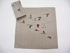 Linen Geese Napkins- Freshly Printed -   With their shared environmental concern, paired with a mutual interest in hand drawn, nostalgic imagery Jen Kneulman and Lauren Hunter generated Freshly Printed. Considering the environmental impact of the fabric, dye and application processes has been challenging, but as a result, continually pushes them towards a truly sustainable printed textile.