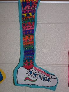 Crazy Socks lesson--pattern, line, etc.   * Did this with the 3rd graders as a part of a pattern unit and they adored them! It took 1 class period to draw the shoe, 2 to make the patterns, color them in and get the construction paper added. They were so happy with the outcome! *