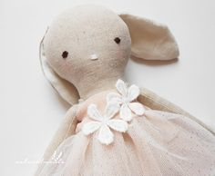 Diane - linen bunny doll - Easter gift for girls - girl nursery decor - handmade doll - dress doll -  rag doll - textile toy