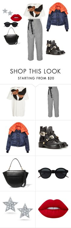 """""""Milan Fashion Week"""" by kkmahony ❤ liked on Polyvore featuring Edeline Lee, J.Crew, Versace, Balenciaga, Wandler, JULIANNE and Lime Crime"""