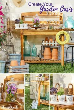 Where there are beautiful planters and gardening tools, there's room to bloom. HomeGoods has everything you need to spruce up the window box or get the backyard into prizewinning shape. Dream Garden, Garden Art, Garden Sheds, Garden Oasis, Garden Table, Herb Garden, Garden Design, Outdoor Projects, Garden Projects