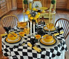 Fiesta Dinnerware tabletop | The Little Round Table: Black and White and Marigold All Over
