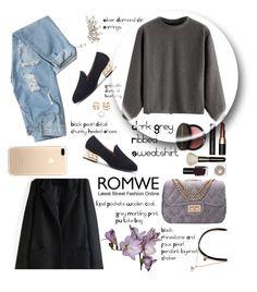 """ROMWE - Dark Grey Ribbed Sweatshirt"" by miss-maca ❤ liked on Polyvore featuring Bobbi Brown Cosmetics"