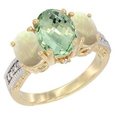 10K Yellow Gold Diamond Natural Green Amethyst Ring 3-Stone Oval 8x6mm with Opal, size 10, Women's