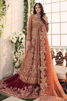 Make your BIG DAY celebrations memorable with Aisha imran exclusive range of bridals wear and wedding dresses. Pakistani Bridal Dresses Online, Indian Wedding Gowns, Hijab Wedding Dresses, Indian Bridal Outfits, Pakistani Bridal Wear, Desi Wedding, Wedding Ideas, Bridal Lehenga Collection, Shadi Dresses