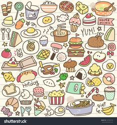 Set of Cute Food Doodle Set of Cute Food Doodle - Art Sketches Creative Doodles Kawaii, Food Doodles, Cute Doodles, Little Doodles, Doodle Art, Doodle Sketch, Doodle Drawings, Cute Food Drawings, Kawaii Drawings
