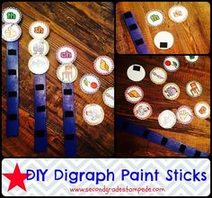 DIY Digraph Paint Sticks.  Awesome idea for a more hands-on practice with digraphs!  Perfect for literacy or reading centers, intervention, or extra practice!