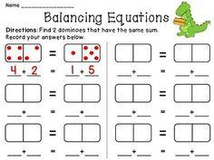 Balancing Equations math station using dominoes: