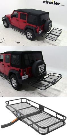 Transport hiking, camping and other gear with this hitch cargo carrier. Compatible with the Jeep Wrangler.
