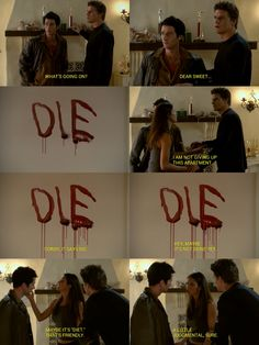 "Allen Francis Doyle: [the ghost is writing in blood on Cordelia's wall] Cordy, it says 'die'!  Cordelia: Hey, maybe it's not done. Maybe it's 'diet'. That's friendly. A little judgmental, sure.  #Angel 1x05 ""Rm w/a Vu"""