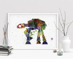 Star Wars at-at  Watercolor Art Print AT-AT walker Movie