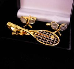 Tennis Cufflinks / Racquet tie clip / Vintage original box /