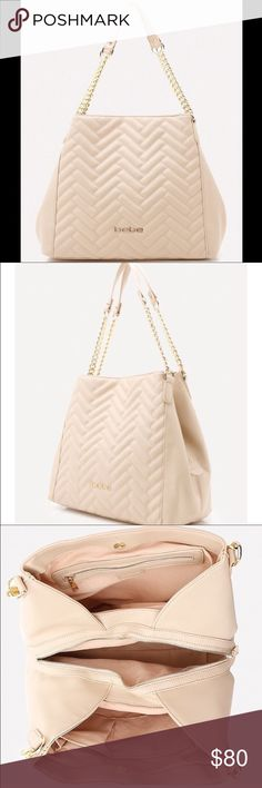 Bebe Tote / Purse Color: Sandshell. Downtown-to-uptown faux leather tote in a chic quilted herringbone design and trapezoid silhouette. Luxurious chain straps finished with comfortable shoulder guards. Roomy 3-section interior with secure zip center compartment. One zip wall pocket and one divided wall pocket. Front goldtone bebe logo. 100% Polyurethane, Magnetic snap closure. bebe Bags Totes