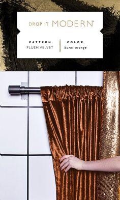 ROD POCKET DRAPERY: Plush Velvet // burnt orange
