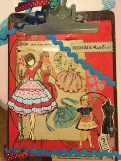 Retro clipboard with Julie Nutting doll