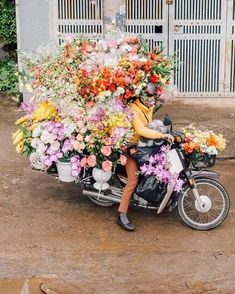 """There should be a biker club called """"The Flowers"""" where people ride on motorcycles/bikes like these and pass out flowers to random people on the sidewalk or in shops or something☺️"""
