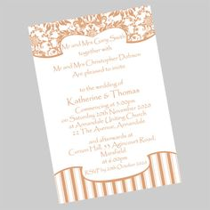 Damask and Stripes Postcard Wedding Invitation. A semi formal wedding invitation which can be printed in many different colours. Postcard Wedding Invitation, Creative Wedding Invitations, Beautiful Wedding Invitations, Diy Invitations, Wedding Invitation Design, Wedding Stationery, Invites, Wedding Makeup, Wedding Hair