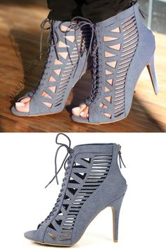 "Keep up with the A-listers in the Anne Michelle Princess-34 Caged Denim Booties! Features a tribal inspired cut out pattern, peep toe, denim nubuck upper, back zipper, and lace up design and a 4"" heel approx. Pair with a hooded anorak for a tough yet chic ensemble."