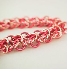 Pink and Silver Wood Elf Chainmaille Bracelet KIT - Zirconium Crystal Magnetic Clasp