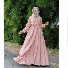 Harga : Azkia Mauna Dress Bahan : Balotelli Ukuran : All size fit L by @ Muslim Fashion, Hijab Fashion, Girl Fashion, Fashion Dresses, Womens Fashion, Kebaya Modern Dress, Muslim Long Dress, Hijab Dress Party, Casual Hijab Outfit