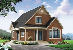 Cottage House Plan With Expansion - 22356DR | Cottage, Country, Vacation, Canadian, Metric, Narrow Lot, 1st Floor Master Suite, Bonus Room, CAD Available, PDF, Wrap Around Porch | Architectural Designs