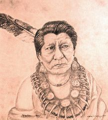 """My drawing of Native American Indian """"Chief Medicine Horse"""" Shaw-Ka-Haw-Wa one of my relatives of the Otoe-Missouria Tribe of Indians. Prints available in Sepia or regular tone on Ebay in various sizes"""