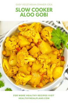 This delicious slow cooker Aloo Gobi is vegan and gluten free! It only takes about 10 minutes to prep in the morning and will be ready just in time for dinner! Vegan Slow Cooker, Slow Cooker Recipes, Healthy Dinner Recipes, Vegetarian Recipes, Gobi Recipes, Healthy Indian Recipes, Aloo Gobi, Easy Vegetarian Dinner, Dump Meals