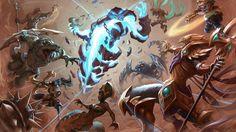 League of Legends Champions Fighting Clash Azir Ezreal Khazix Skarner Xerath Amumu Medusa Sivir Renekton Nasus 1920x1200