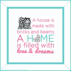 A home is filled with love and dreams. FOLLOW Madeleine McBride on Facebook: https://www.facebook.com/PartyCharms | #origamiowl #quote #home #love