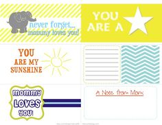 Back to School lunch box freebie printable notes