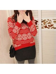 Snowflake Red Knit Pullover