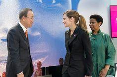 Ban Ki-moon Meets Emma Watson in the presence of Phumzile Mlambo-Ngcuka