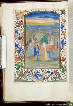 Book of Hours, MS S.1 fol. 22v - Images from Medieval and Renaissance Manuscripts - The Morgan Library & MuseumVirgin Mary: Visitation -- Virgin Mary, wearing fillet, with rays as nimbus, extends hands to hands of Elizabeth, veiled, with rays as nimbus. Behind Mary are two angels, kneeling with joined hands raised. Behind Elizabeth stands woman, wearing headdress, before arched gate of building or city. Landscape with buildings in background. Margins with vinescroll and floreate ornament…