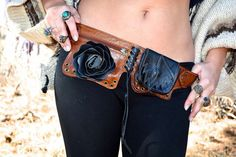 Black Leather Rose utility belt/ beltbag by NayturesEmpire on Etsy