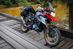 Spoked wheels, better suspension, and some off-road travel accessories to turn the baby GS into a more adventurous motorcycle Motorcycle Camping, Motorcycle Wheels, Motorcycle News, Ducati Motorcycles, Cars And Motorcycles, Bike Bmw, Rally Raid, Original Travel, Bike Trails