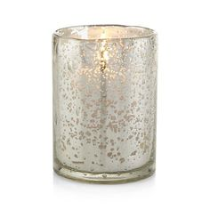 Silver Bubbled Glass Votive Candle Holder  | Crate and Barrel