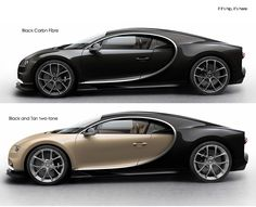 Bugatti Chiron black carbon fibre and two tone profiles