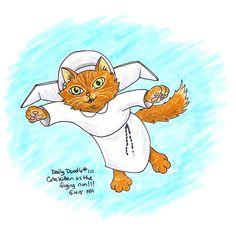 No.101 Cute Kitten as The Flying Nun