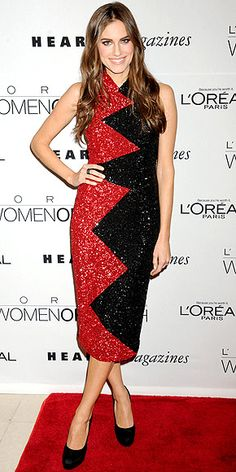 ALLISON WILLIAMS  The Girls actress apparently also received the red sequin memo, because she chooses a super-sparkly zig-zag L'Wren Scott number for the L'Oreal Women of Worth awards in N.Y.C.