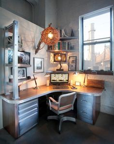 Rustic lux cubicle -- looks like a million bucks.
