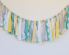 Yellow, Gray and Teal Rag Banner, Fabric Bunting Photo Prop