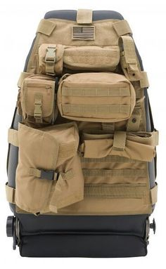 Smittybilt GEAR Tan Front Seat Cover Is Designed With Five Different Pouches That Fastened Using A Molle And Pals Restraint System
