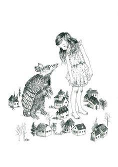Armadillo illustration in pencil, black and white   Julie Filipenko