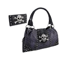 Amazon.com: Studded Skull Purse and Wallet with Rhinestone Skull and Crossbones (Black): Clothing