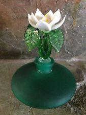 GORGEOUS VINTAGE HAND BLOWN ART GLASS GREEN WHITE FLOWER STOPPER PERFUME BOTTLE