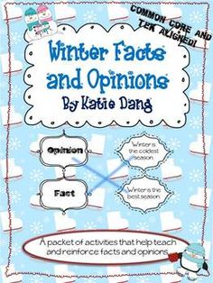 Winter Facts and Opinions {Common Core and TEKS based activities}