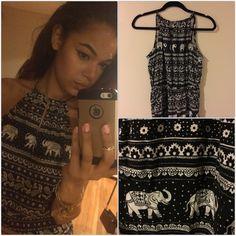 Tribal Print Elephant Jumpsuit  [F21] Tribal Print Elephant Jumpsuit  [F21] Halter top & has pockets! (Who doesn't love pockets?) Forever 21 Dresses