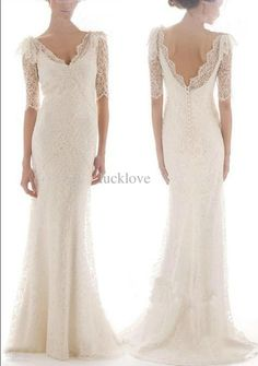 Wholesale Bridal Dress - Buy Charming Dream Full Lace A-Line Graceful V-Neck Bridal Gown 1/2 Sleeve Evening Wedding Dresses, $153.41 | DHgate
