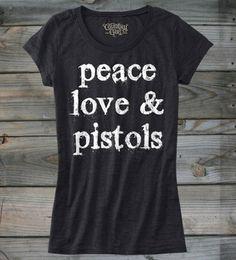 Juniors Country Girl ® Peace Love Pistols Distress Burnout Tee